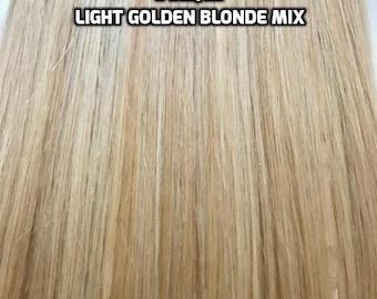 100% Human Hair Flip-in(HALO) extension Hand-made Light Golden Blonde Mix
