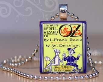 Wizard of Oz Vintage Book Cover Necklace Pendant -  Dorothy Tin Man Lion Scarecrow Wood Scrabble Charm Jewelry