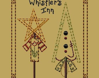 Primitive Machine Embroidery Design-Whistler's Inn--(4x4)-INSTANT DOWNLOAD