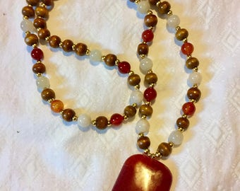 Fire Agate and Sunstone Beaded Necklace