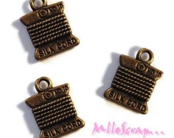 Set of 4 charms spools scrapbooking embellishment bronze wire *.