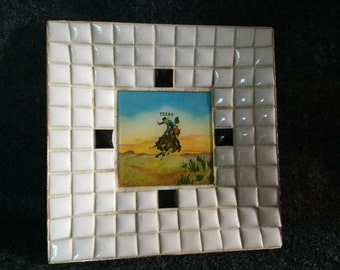 Vintage Japan mosaic dish with Texas cowboy