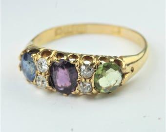 Vintage Edwardian 18ct Yellow Gold Sapphire, Peridot, Tourmaline and Diamond Ring Size: S-9 1/8
