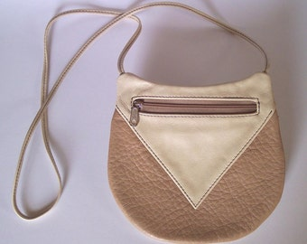 Off-White Leather Purse- Cross Body Style - Medium Round Festival Bag - Off-White and Camel Color Handbag