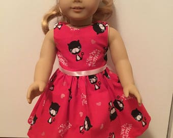 Pretty kitty Valentine dress PurrFect for any 18 inch doll like American girl