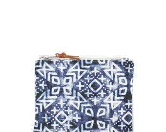 Handmade wallet - white and blue morrocan pattern