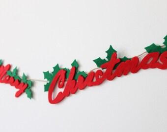 Merry Christmas Felt Garland , Christmas Red Green Felt Garland, Happy New Year Felt Home Decor