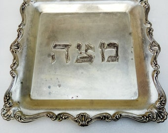 collectible Vintage Matzah Seder Plate made of Copper silver plated Jewish Judaica Jerusalem