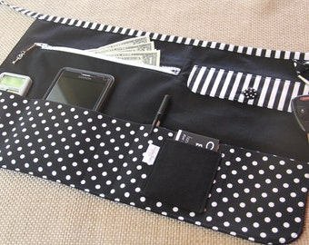 Vendor Utility Apron - Black and White Dots and Stripes - for craft shows, festivals, bazaars and fairs - Ready to Ship
