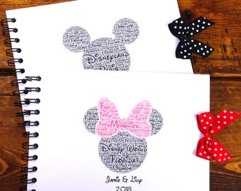 Personalised Disney Autograph Book, Mickey/Minnie Mouse, Disney Land/Disneyworld