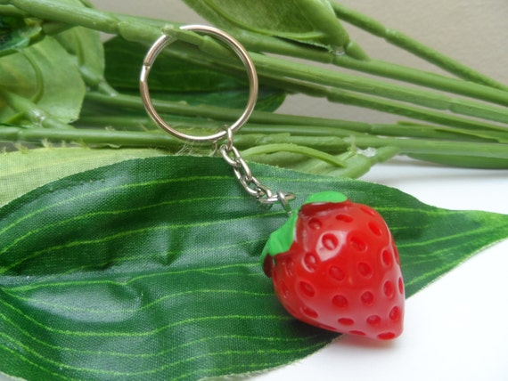 Strawberry Keychains, Novelty Keychains, Strawberry Keyrings, Birthday Gifts,Tween Gifts, Teen Gifts, Girls Party Favors by Etsy