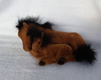 Vintage Flocked Horse and Foal, China