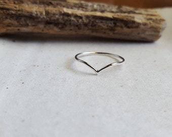 Skinny Chevron Ring - Silver Chevron Ring - Argentium Silver Jewelry - Chevron Stacking Ring - Hypoallergenic - Pointy Arrow Ring - V Ring