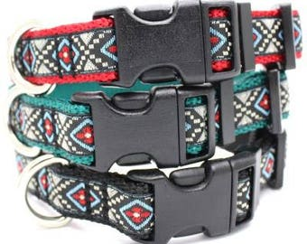 Moon Aztec Jacquard Adjustable Dog Collar / X-Small, Small, Medium, Large, X-Large / Made in Japan
