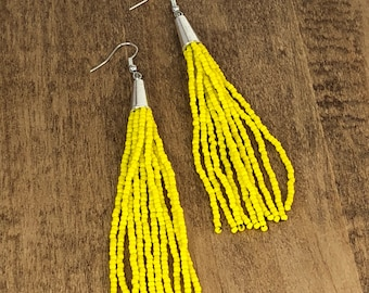 Beaded Tassel Earrings, Yellow, Tassel Earrings, Fringe Earrings, Statement Earrings, Long Earrings, Multistrand Earrings, Boho Jewelry