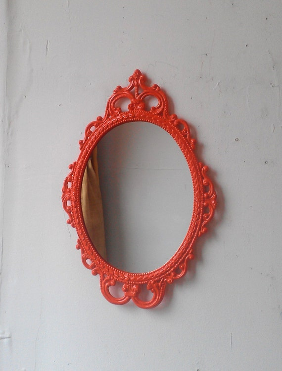 Vintage Framed Mirror in Hand Painted Bright Orange, 17 by 12 Inch