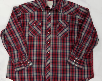 Vintage 80s Red Plaid Pearl Snap Western Frontier Button Front Shirt, Mens XXL 2XL