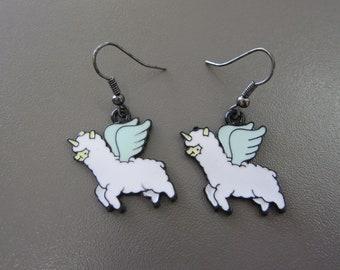 Pegasus Unicorn Alpaca Earrings, Enamel Alpaca Jewellery, Animal Earrings, Llama Earrings, Llama Jewellery