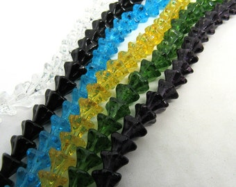 Choice of Color 9x6mm Glass Morning Glory Flower Bead Strand (B523M)