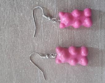 Earrings bear candy pink