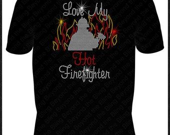 Firefighter shirt love my firefighter shirt love my fireman shirt rhinestone bling shirt