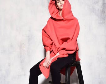 New Hooded Romantic Poncho /  Extravarant Watermalon Asymmetric Hoodie / Cotton Hooded Top/ Oversized by AAKASHA A07583