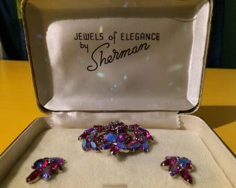 "Dazzling Signed Sherman ""Jewels of Elegance"" Brooch And Earring Box Set, Aurora Borealis Rhinestones"