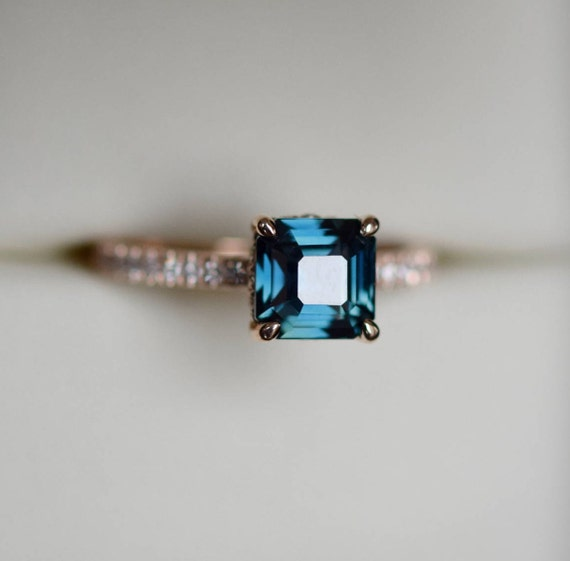Peacock sapphire engagement ring. 2.07ct radiant cut blue green sapphire ring diamond ring 14k Rose gold ring by Eidelprecious