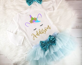 Unicorn outfit baby girl unicorn outfit unicorn birthday outfit unicorn party first birthday baby girl 1st birthday unicorn blue tutu outfit