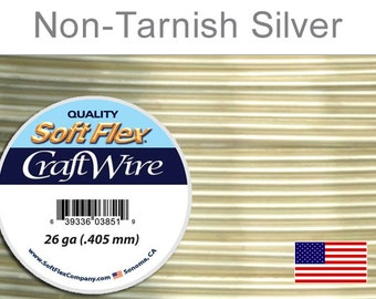 26 Gauge Silver Non Tarnish Wire, Silver Plated Wire, Round, Soft Flex, Supplies, Findings, Craft Wire