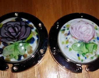 CLEARANCE! Glass Rose Purse Hook Pink or Purple w White Background Flower Folding Stocking Handbag Hanger Holder Table Bar Desk Dresser