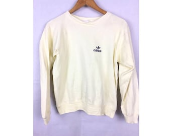 ADIDAS Trefoil Long Sleeve Sweatshirt Pull Over by Doverfield Medium Size Light Yellow Colour