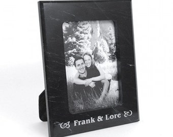Personalized 5x7 Black Marble Photo Frame - Laser Engraved