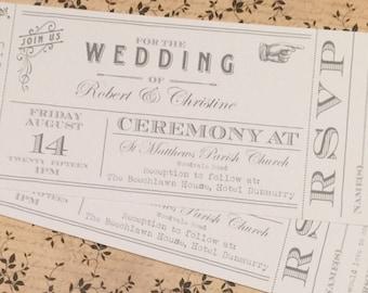 SAMPLE White Vintage Shabby Chic Ticket Wedding Invitations!
