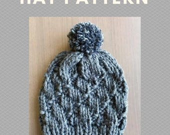 Shifted Stones Knit Hat Beanie - PATTERN PDF ONLY - Adult Child Toddler Baby - Handmade Knit Hat Written Instructions - Easy Beginner