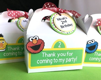 Sesame Street Favor Boxes, Sesame Street Birthday Favor, Birthday Treat Box, Sesame Street Party Favors, Baby Shower Favor Box, Set of 10