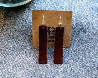 Simple Leather Earrings - Leather Bar Earrings - Minimalist Leather Earrings - Repurposed Leather Earrings - Genuine Leather Earrings