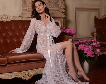 Long Lace Bridal Robe F3, Bridal Lingerie, Wedding Lingerie, Honeymoon, Sleepwear,Wedding Trousseau, For Her