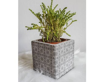 Pot en ciment personnalisé imprimé carreaux de ciment – 10x10cm