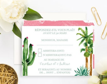 Palm Springs Wedding RSVP Card with white envelope - Wedding RSVP Card - Cactus Wedding Invitation - Cactus Wedding - Palm Springs Wedding