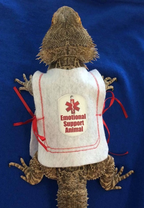 Emotional Support Animal Vest For Bearded Dragons One Size