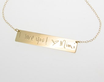 Gold Nameplate Necklace, YOUR Handwriting, Custom Handwritten 14K Gold Bar Necklace, As Seen on Kim Kardashian, Yellow White or Rose Gold