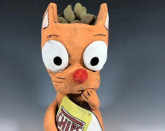 Chip Kitty Planter // Orange // Pothead // Succulent Pot // Adorable // Small // Snacks // Gifts for Her // Unique // One of a Kind