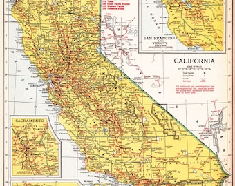 old map of California from the 1940's, with Arkansas on the flip side, unique gift and home decor