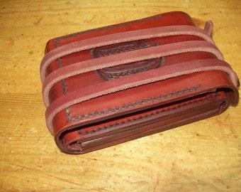 Monogram Option - Custom Folding All-Leather Travel Cribbage Board (Tooled)