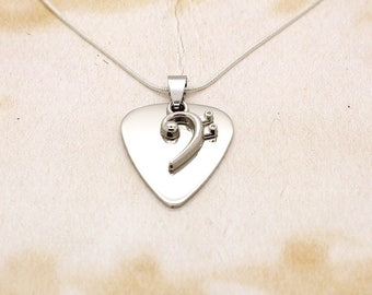 Polished Stainless Steel Guitar Pick With Bass Clef Pendant On Silver Plated Snake Chain Necklace