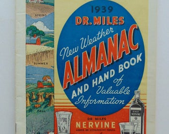 1939 Dr. Miles New Weather Almanac And Hand Book - Medical Quackery