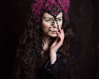 SALE Magenta and Black 'Rudbeckia' Couture Gothic Headdress