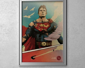 Superman - Man of Steel - Original Art Poster