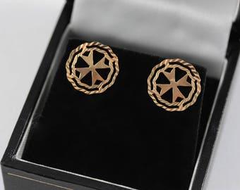 Vintage 9ct Gold Maltese Cross Earrings, 9ct Yellow Gold Stud Earrings, Maltese Cross Stud Earrings
